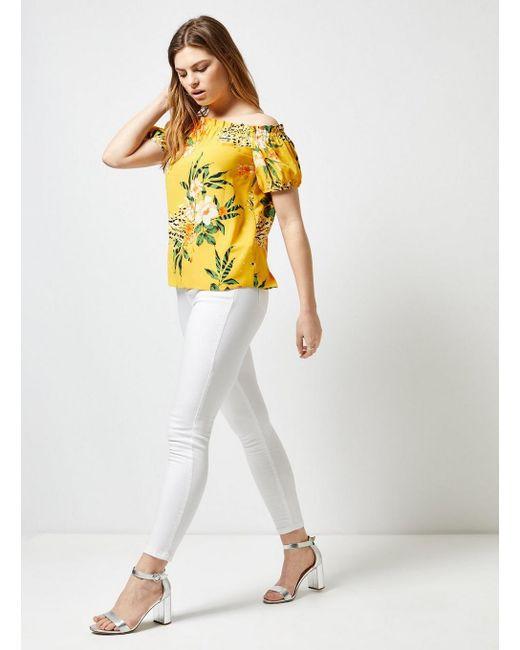 bcacb740826eb0 ... Dorothy Perkins - Orange Yellow Floral Print Bardot Top - Lyst ...