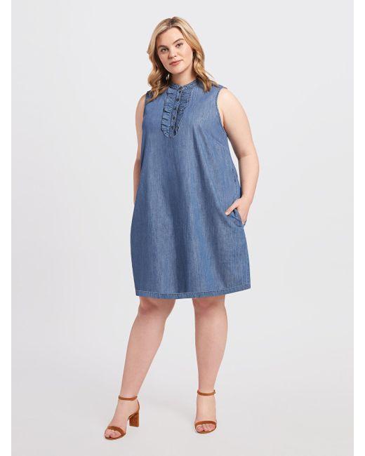 7a7040910e6 ... Draper James - Blue Belted Sleeveless Chambray Ruffle Shift Dress -  Lyst ...