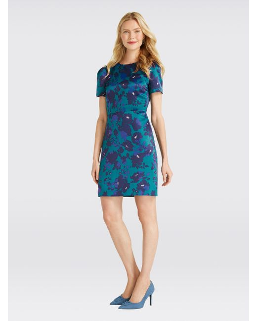 d402bb839cc Draper James - Blue Cutout Floral Structured Dress - Lyst ...