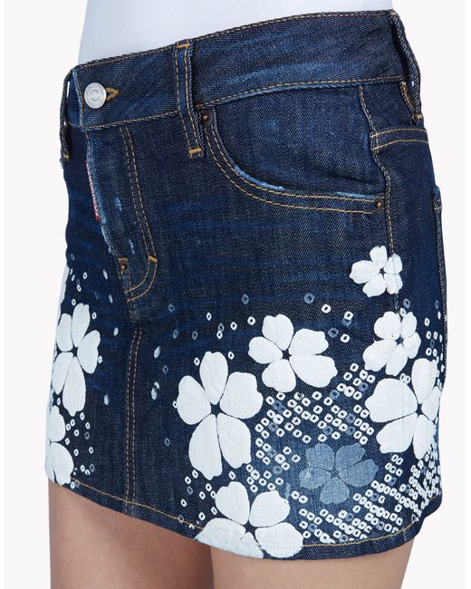 dsquared 178 washed destroyed stretch denim skirt in blue