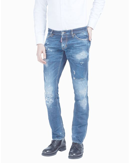 DSquared² | Blue Cloud Sky Distressed Slim Jeans for Men | Lyst