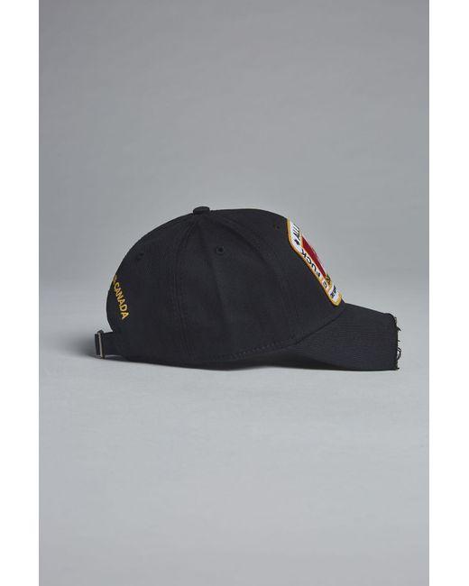 9b68bedd137 DSquared² - Black Canadian Heritage Piercing Baseball Cap for Men - Lyst ...