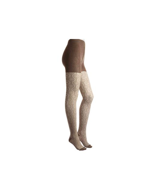 Memoi - Natural Floral Sweater Tights - Lyst