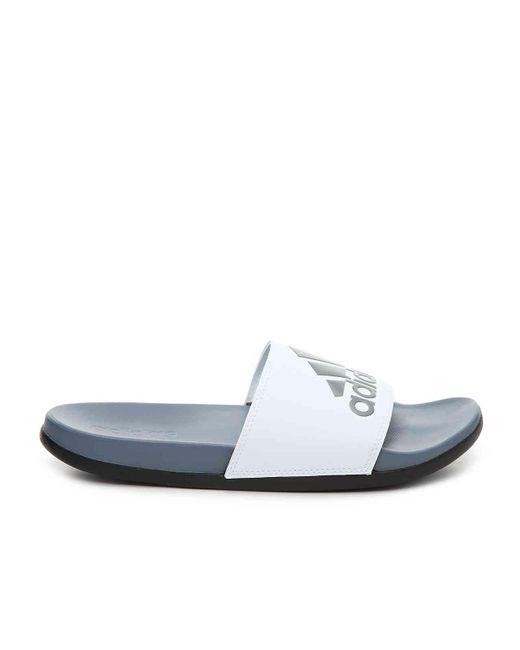 newest a14e5 731df ... Adidas - White Adilette Cf+ Logo Slide Sandal for Men - Lyst ...