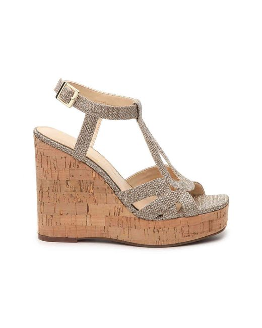 a5e74535604 Lyst - Jessica Simpson Shayla Wedge Sandal in Metallic - Save 17%