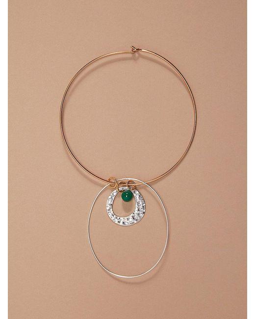Diane von Furstenberg | Metallic Gold Wire Silver Charm Necklace | Lyst