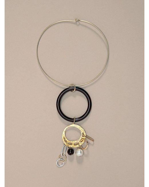 Diane von Furstenberg | Metallic Gold Wire Black Ring Necklace | Lyst