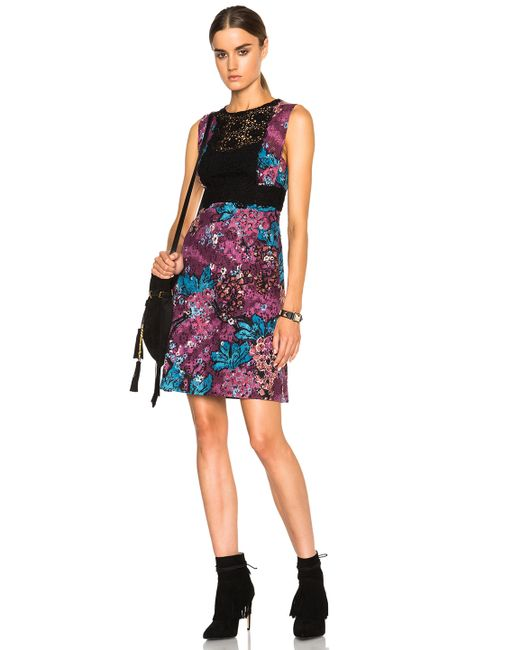 Burberry Prorsum   Multicolor Printed Lace and Cotton-blend Dress   Lyst