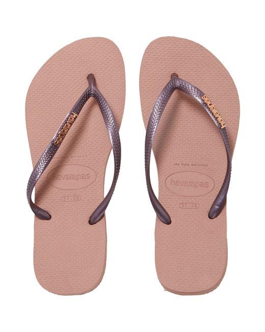 Havaianas Slim Logo Metallic Flip Flop In Pink Rose Gold  Lyst-6161