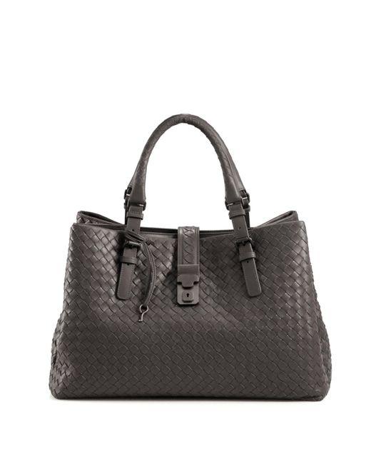 Bottega Veneta | Gray Roma Medium Intrecciato Leather Satchel | Lyst