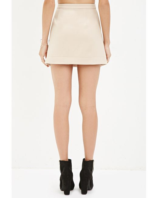 Forever 21 | Natural Buttoned Mini Skirt | Lyst