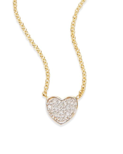 Kacey K | Metallic Diamond & 14k Gold Heart Necklace | Lyst