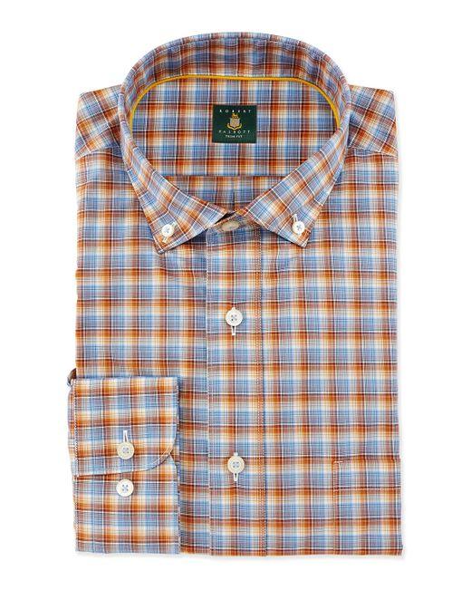 Robert talbott mini plaid woven dress shirt in orange for for Robert talbott shirts sale