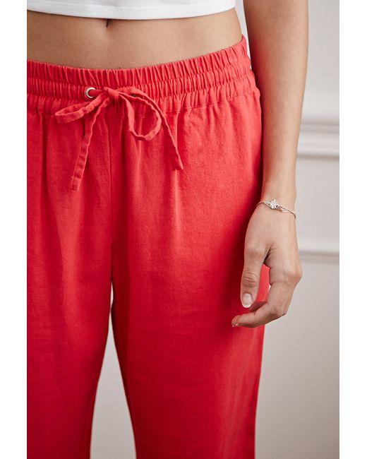 Forever 21 | Pink Linen-blend Drawstring Pants | Lyst