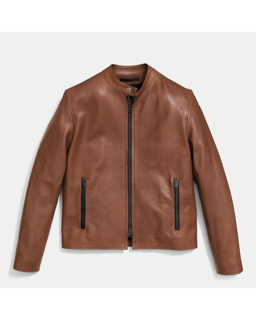 COACH | Brown Leather Racer Jacket for Men | Lyst