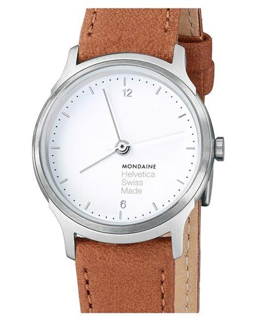 Mondaine | Brown 'helvetica No.1 Light' Round Leather Strap Watch | Lyst