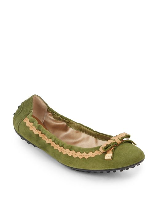 Tod's | Green Suede Ballerina Flats | Lyst