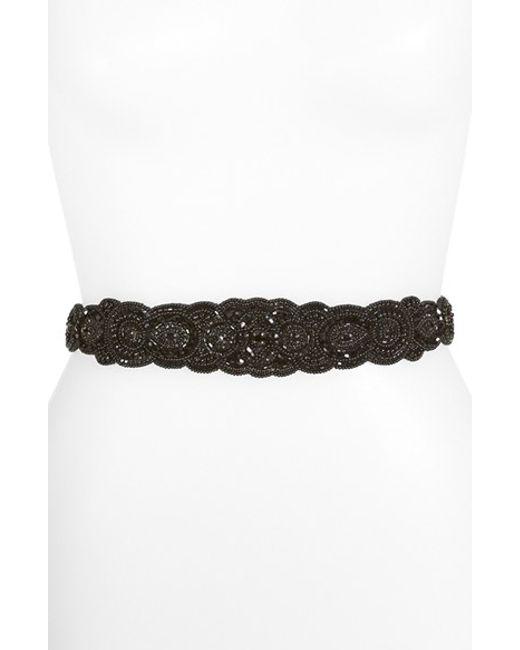 Glint | Black 'arabesque' Beaded Stretch Belt | Lyst
