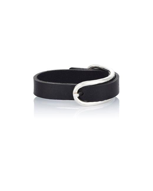 Werkstatt:münchen | Black Leather Bracelet With Hammered Buckle for Men | Lyst
