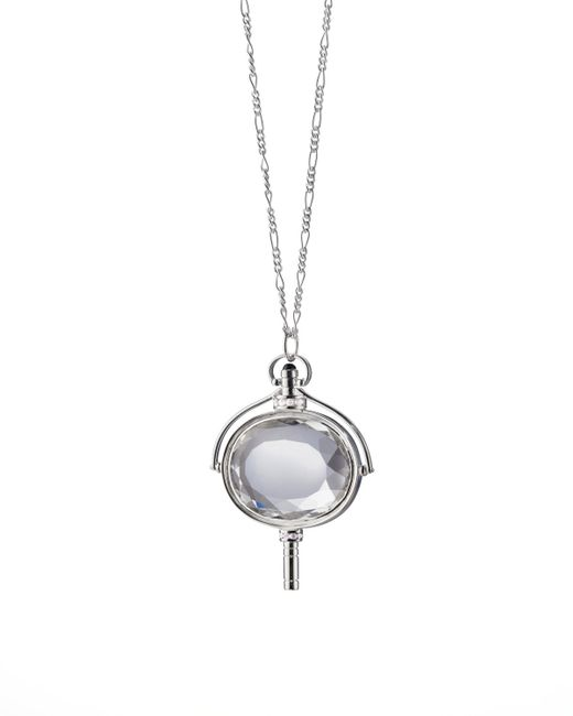 Monica Rich Kosann | Metallic Large Silver Pocket Watch Key Rock Crystal Necklace | Lyst