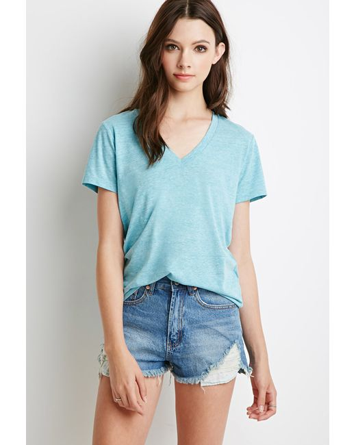 Forever 21 | Blue Heathered V-neck Tee | Lyst
