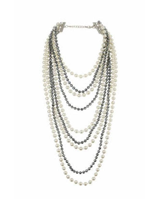 topshop facet and pearl multi row necklace in beige