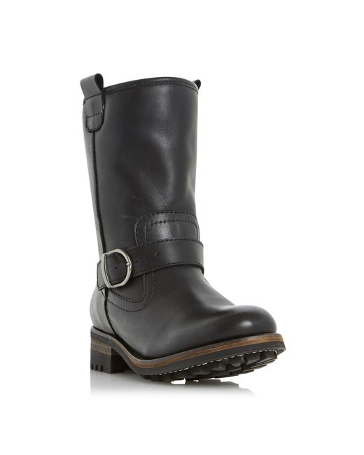 Dune | Black Roller Fur Lined Buckle Calf Boots | Lyst