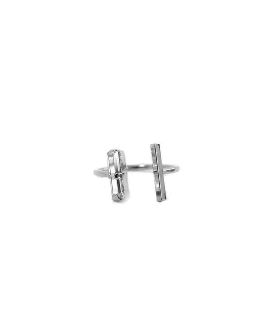 Kris Nations | Metallic Silver Double Dash Ring | Lyst
