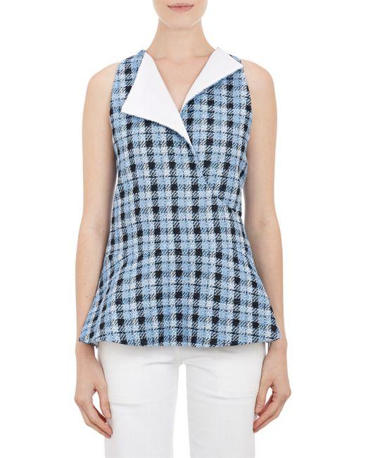 Derek Lam | Blue Plaid Tweed Peplum Top | Lyst