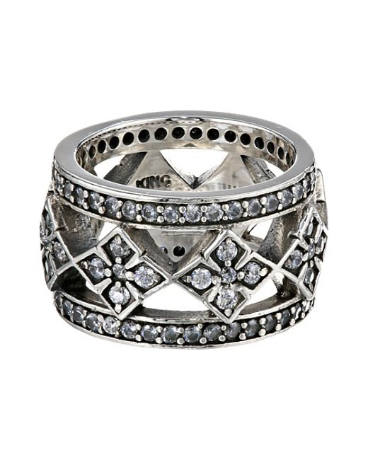 King Baby Studio | Metallic Wide Band Ring W/ Mb Cross And Cz | Lyst