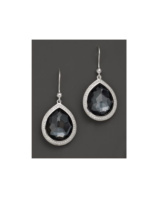 Ippolita | Multicolor Sterling Silver Stella Earrings In Hematite Doublet With Diamonds | Lyst