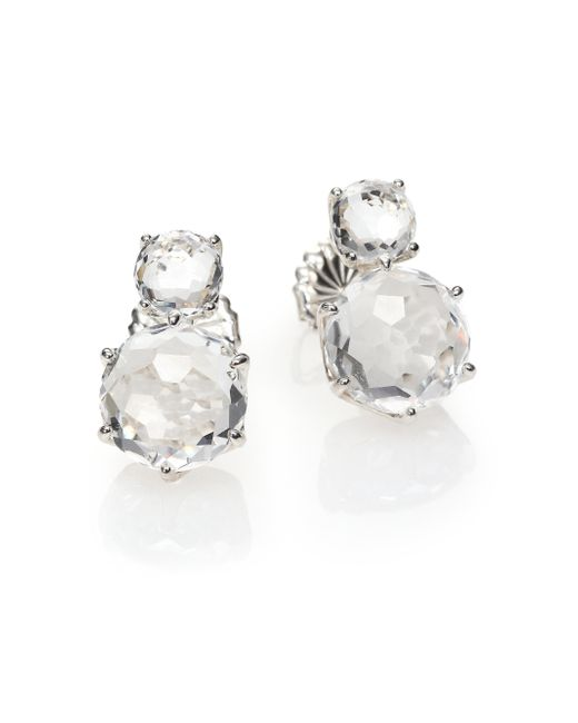 Ippolita | Metallic Rock Candy Clear Quartz & Sterling Silver Two-stone Post Earrings | Lyst