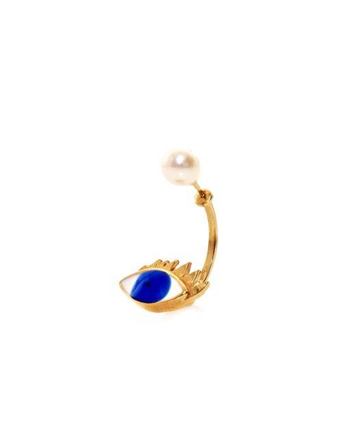 Delfina Delettrez | Yellow Gold, Pearl & Enamel Eye Single Earring | Lyst