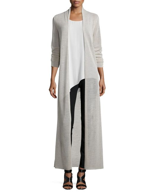 Eileen Fisher | Gray Washable Merino Wool Maxi Cardigan | Lyst