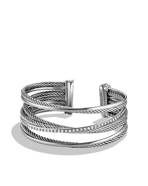 David Yurman | Metallic Crossover Four-row Cuff Bracelet With Diamonds, 23mm | Lyst