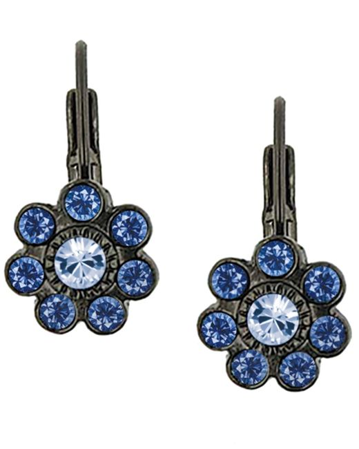 2028 | Blue Crystal Leverback Earrings | Lyst
