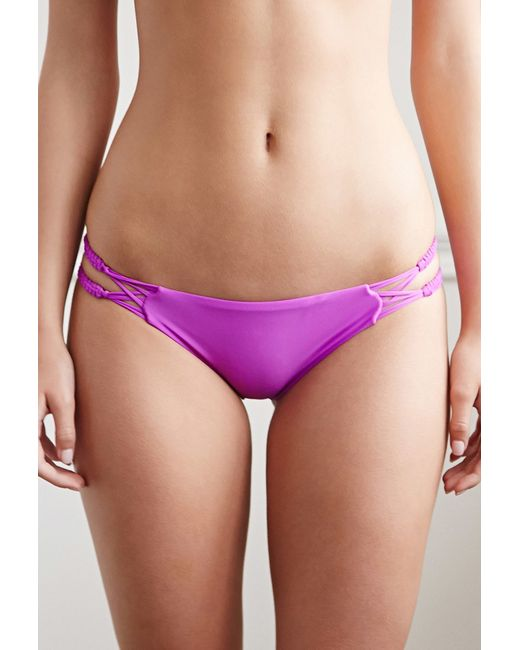 Forever 21 | Purple Braided-strap Cheeky Bikini Bottoms | Lyst