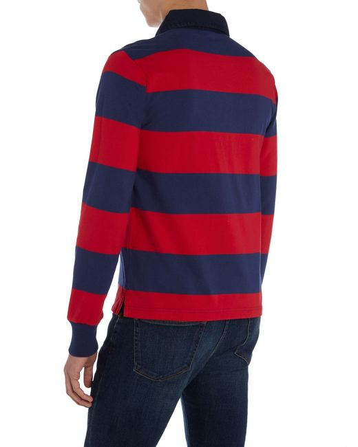 Gant striped long sleeve rugby shirt in blue for men red for Long sleeve striped rugby shirt