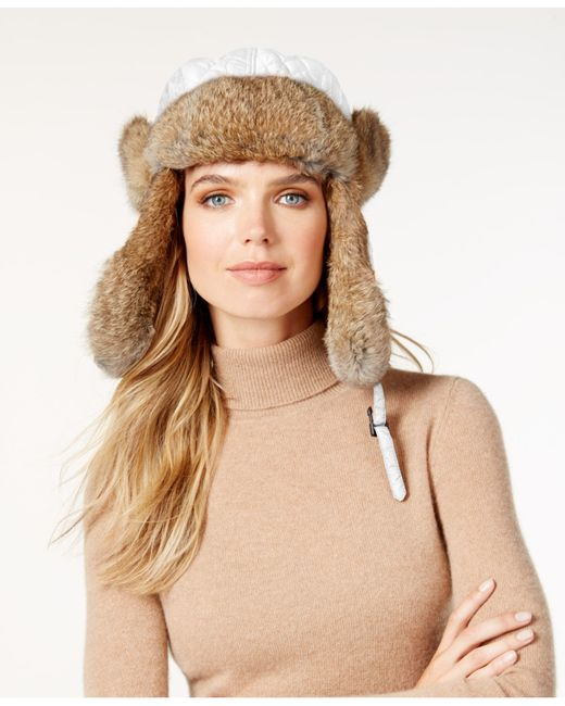 Surell | Natural Rabbit Fur Trim Visor Quilted Trooper Hat | Lyst