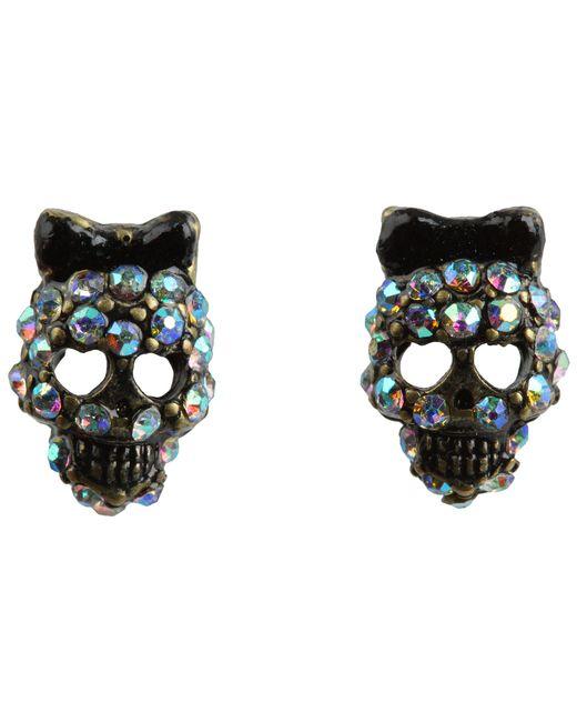 Betsey Johnson | Black Dark Forest Small Skull Stud Earrings | Lyst