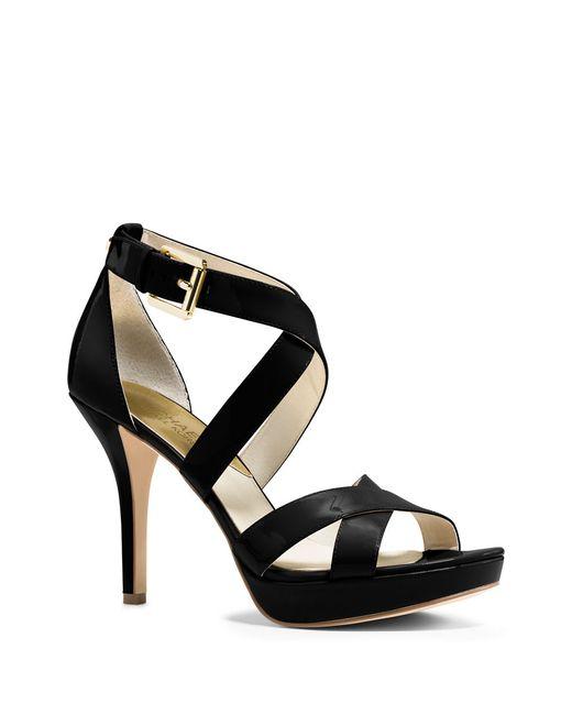 MICHAEL Michael Kors | Black Evie Patent Leather Stiletto Sandals | Lyst