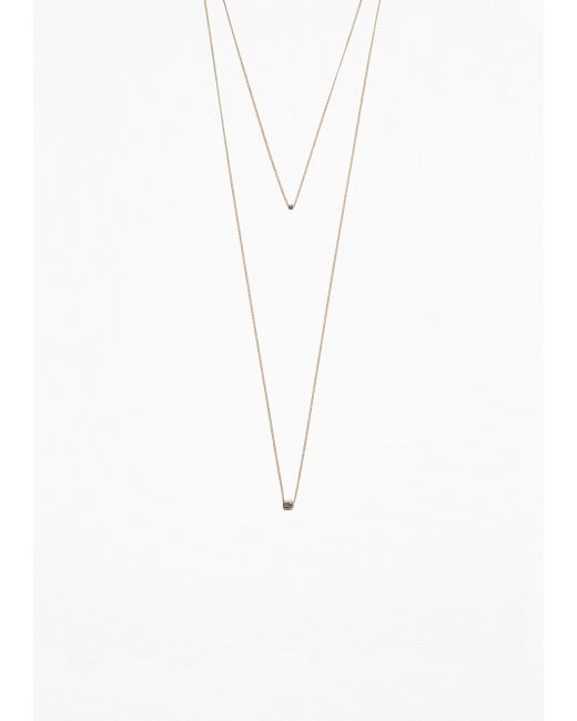 & Other Stories   Metallic Bead Pendant Double Chain Necklace   Lyst