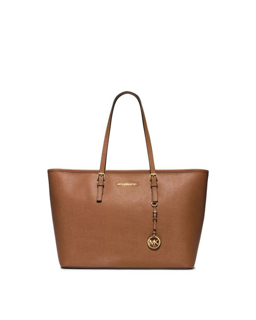Michael Kors | Brown Jet Set Travel Saffiano-Leather Tote | Lyst