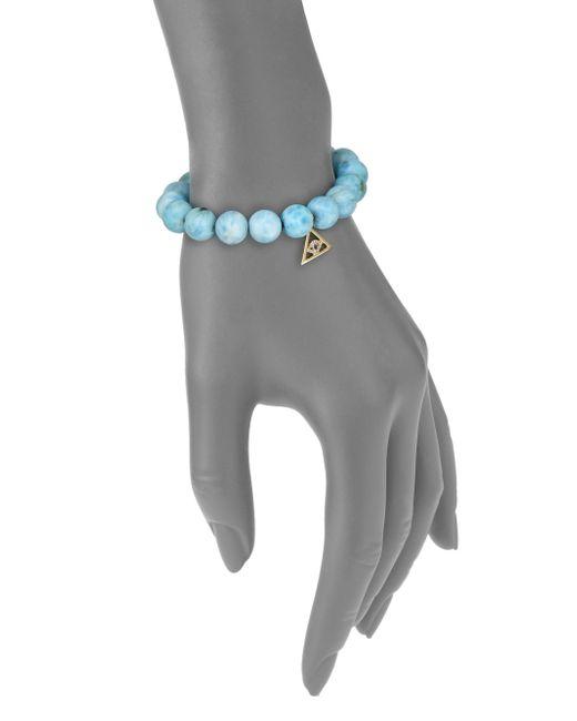 Sydney Evan | Blue Diamond, Sapphire, Larimar & 14k Yellow Gold Pyramid Evil Eye Beaded Stretch Bracelet | Lyst
