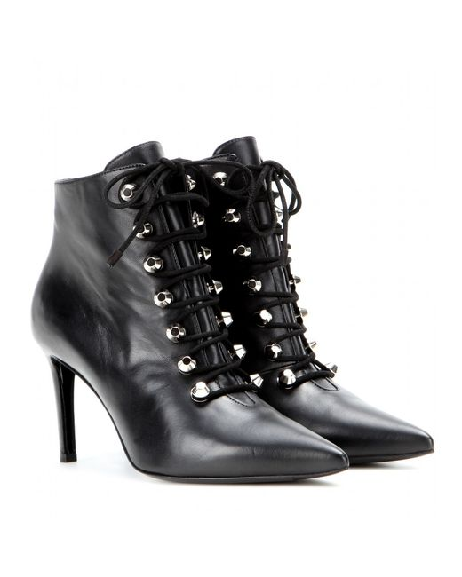 Balenciaga   Black Lace-Up Lambskin Ankle Boots   Lyst