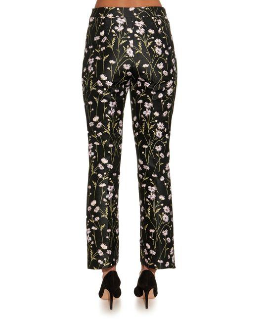 Giambattista Valli   Black Floral-jacquard Kick-flare Trousers   Lyst