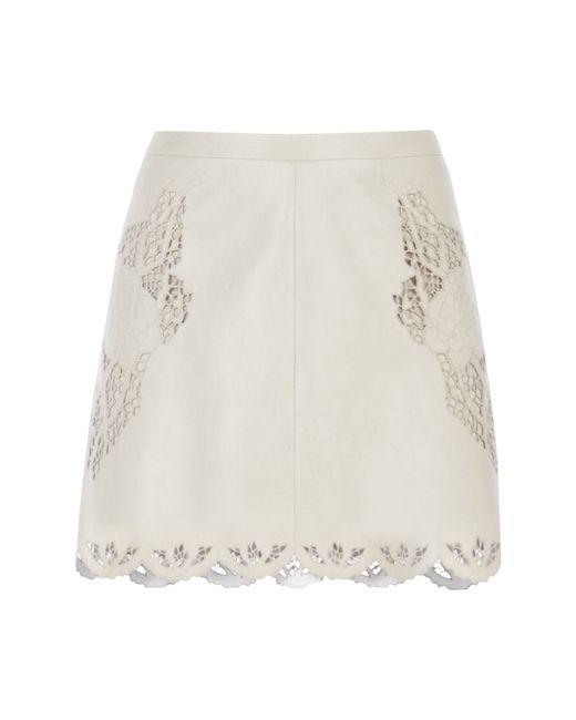 BCBGMAXAZRIA | Beige Jennifer Embroidered Faux Leather Skirt | Lyst