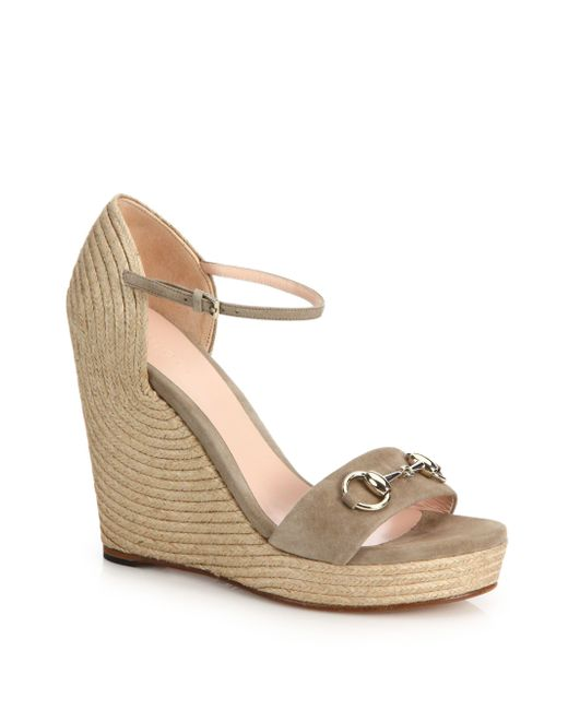 Gucci | Brown 'carolina' Ankle Strap Wedge | Lyst