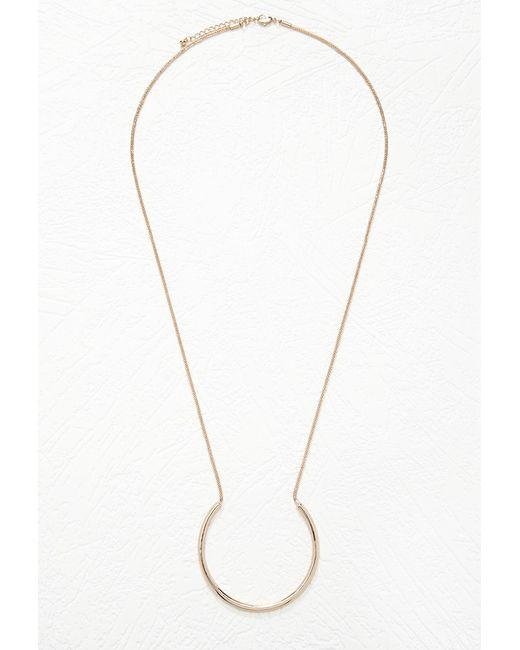 Forever 21 | Metallic Hoop Pendant Longline Necklace | Lyst