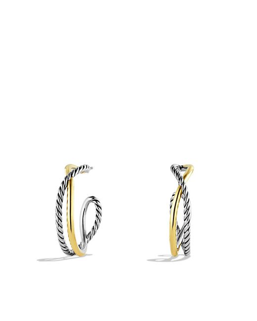 David Yurman | Metallic Crossover Hoop Earrings With 14k Gold | Lyst